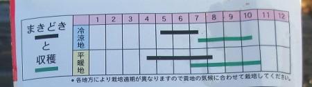 種袋の裏に書かれた栽培適期表