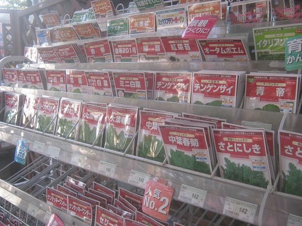 店頭に並んだ野菜の種